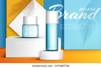 Cosmetic bottle and cream jar on podium stage, mock up banner of beauty skin care cosmetics tubes, product presentation with palm leaves shadows on showroom platform. Realistic 3d vector illustration