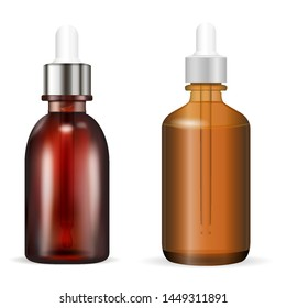 Cosmetic Bottle with Dropper. Vector Illustration. Amber or Brown Glass Medical Vial for Organic Liquid, Aromatic Essence, Serum. Realistic Flask with Eyedropper for Collagen or Treatment. Packaging
