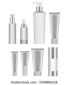 Cosmetic bottle mockup. Coasmetic package set blank. Shampoo bottle white template isolated. Luxury cosmetic packaging, pump dispenser, serum dropper jar, healthcare hygiene wrap collection