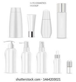 Cosmetic Bottle Mockup. Soap, Shampoo, Tube, Cream, Lotion White Product Blank. Realistic 3d Container With Pump Dispenser, Dropper for Body Care Cosmetics. Luxury Packaging Template Design