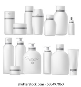 Cosmetic bottle realistic mock up set. Beauty brand template pack. Blank package. Vector Illustration. Isolated on white.