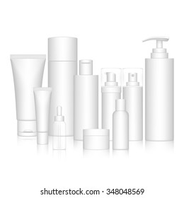 Cosmetic Bottle Set for liquid, cream, gel, lotion. Beauty product package, vector illustration.