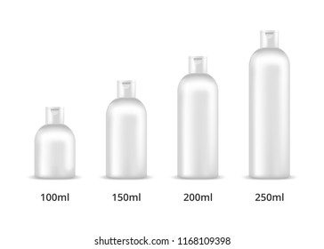 Cosmetic bottles 100ml, 150ml, 200ml, 250ml. Mock up, cosmetic package