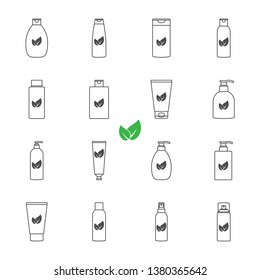 Cosmetic bottles organic products set of vector icons outline style