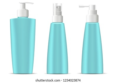 Cosmetic bottles pack with pump and spray dispenser lids in marine blue green color. Cosmetic containers for next products: cream, moisturizer, shampoo, mask, soap and other liquids. 3d vector.