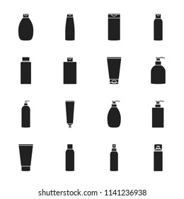 Cosmetic bottles set of vector icons silhouettes