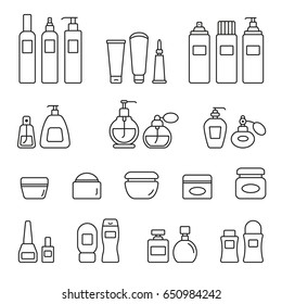 Cosmetic bottles: thin monochrome icon set, black and white kit