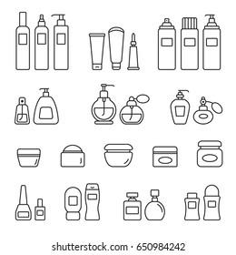 Cosmetic bottles: thin monochrome icon set, black and white kit
