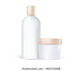 Cosmetic care cream jar and shampoo plastic bottle mockup with gold caps. 3d detailed cosmetic mockups.