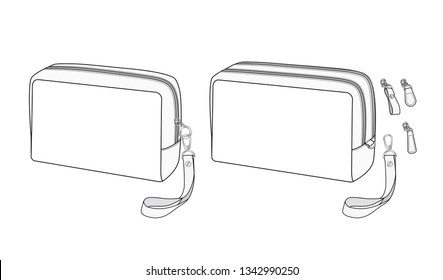 cosmetic case bag, Travel toiletry bag, zip bag with detachable wrist strap, vector illustration sketch template