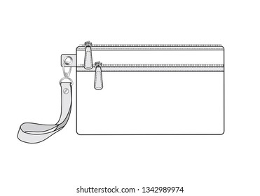 cosmetic case bag with two zippered pockets. zip bag with detachable wrist strap/ key replacement handle, vector illustration sketch template