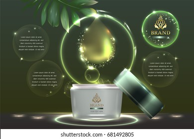 Cosmetic container with advertising background ready to use, natural concept skin care ad. Illustration vector