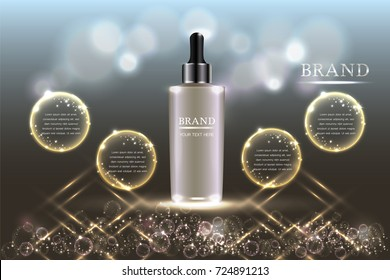 Cosmetic container with advertising background ready to use, holiday concept skin care ad. Illustration vector