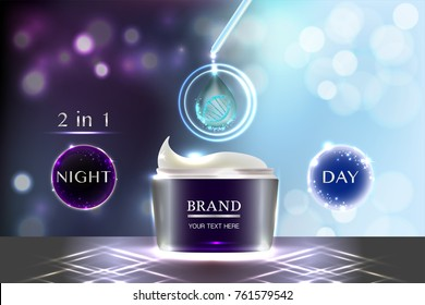 Cosmetic container with advertising background ready to use, night and day skincare ad. Illustration vector