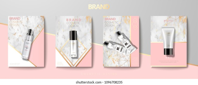 Cosmetic container set on marble stone geometry brochure in 3d illustration