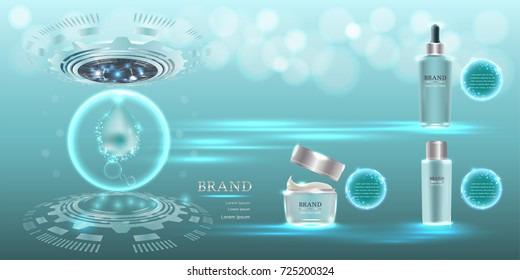 Cosmetic containers with advertising background ready to use, technology concept skin care ad. Illustration vector