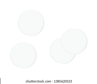 Cosmetic cotton pads isolated on white background. Top view