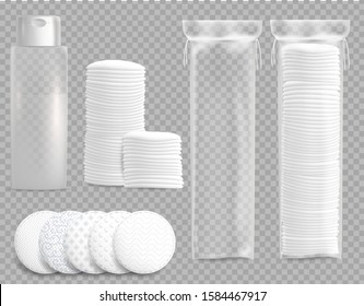 Cosmetic cotton pads for makeup removal. Hygiene white cosmetic discs package mockup set. Makeup remover blank plastic bottle template. Vector illustration isolated on transparent background.