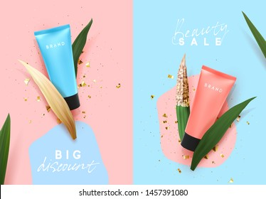 Cosmetic cream in blue and pink tube with tropical plants, Realistic Natural 3d leaves, dry and fresh. Cosmetics brand. Advertising banner, Sale poster. Flat view from top. Vector illustration