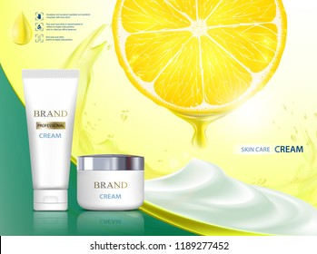 Cosmetic cream with citrus fruit lemon. Packing brand with label design. Stock vector illustration.