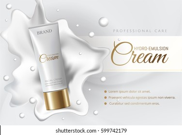 Cosmetic cream contained in tube advertising. Makeup skin hydro emulsion cream tube white and gold color on milk white splash background with drops. 3D realistic Vector illustration EPS10