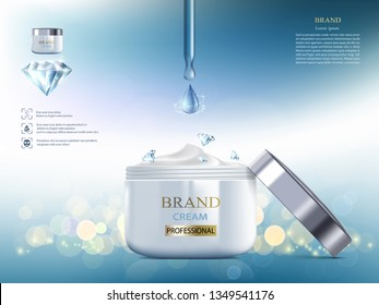 Cosmetic cream with diamond. Coenzyme Q10. Packaging brand design. Vector illustration.