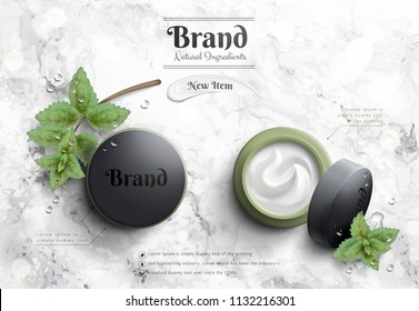 Cosmetic cream jar ads with murky green package and mints element on marble stone table in 3d illustration