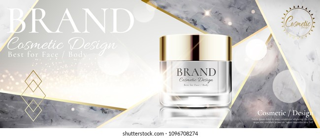 Cosmetic cream jar on marble stone and pearl white background in 3d illustration