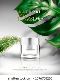 Cosmetic cream jar with tropical leaves decoration in 3d illustration