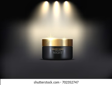 Cosmetic Cream Luxury Gold Canister Design Package Isolated on Black Background with Lights