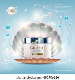 Cosmetic cream with pearls and shell. Splashes of water with drops. Packing brand design. Stock vector illustration.