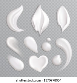 Cosmetic cream smears realistic icon set with white isolated elements different shapes and sizes vector illustration