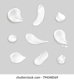 Cosmetic cream smears realistic icon set several drops and smears of thick white cream vector illustration