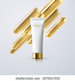 Cosmetic cream tube with golden 3d capsule shapes. Vector realistic illustration of skincare product. Cosmetics packaging mockup design. Advertising poster template
