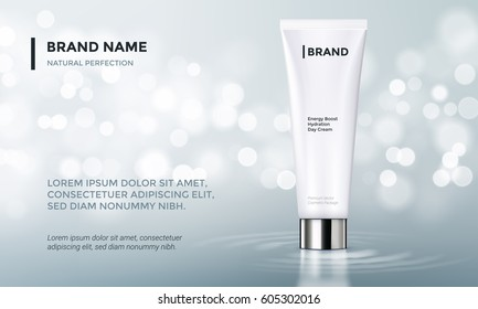 Cosmetic design template. Vecror tube packaging with glossy silver cup on silver glitter background with bokeh