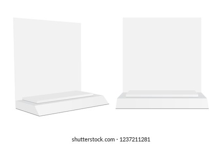 Cosmetic Display, Showcase Make-up Stand - Front and Side View. Vector Illustration