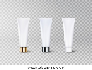 Cosmetic empty tube packaging set with plastic, glossy metal silver and gold cap isolated on transparent background. Vector package for cream, gel. White blank containers pattern for cosmetic design.