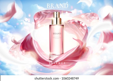 Cosmetic essence ads, exquisite container with smooth pink satin on lighting blue sky in 3d illustration