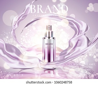 Cosmetic essence ads, exquisite container with purple satin on glowing bokeh background, 3d illustration