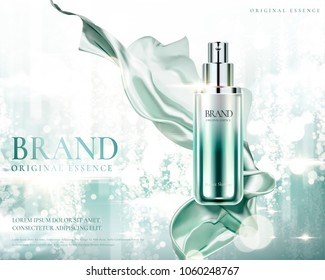 Cosmetic essence ads, exquisite container with smooth satin on shimmering background in 3d illustration
