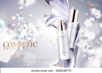 Cosmetic essence ads, exquisite containers with purple satin on clear background in 3d illustration, water drop and hexagons elements