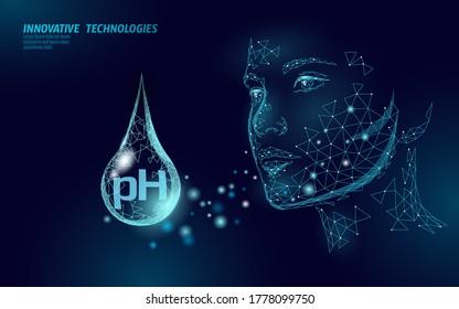 Cosmetic face cream pH test concept. Beauty technology certified organic facial cream serum. Female skin care treatment. Medicine beauty health vector illustration