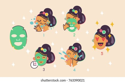 Cosmetic face mask apply instruction, flat line vector design