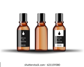 Cosmetic glass bottle with serum argan extract with different labels isolated on white background. Vector illustration.