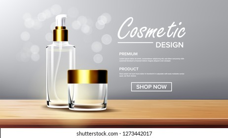 Cosmetic Glass Packaging Vector. Face Care. Fragrance, Collagen. Bottle. Jar. 3D Isolated Transparent Realistic Mockup Template Illustration
