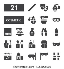 cosmetic icon set. Collection of 21 filled cosmetic icons included Dropper, Mask, Lip balm, Skin, Makeup, Aerosol, Nail polish, Cologne, Nail clippers, Lotion, Padthai, Eye shadow
