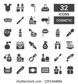 cosmetic icon set. Collection of 32 filled cosmetic icons included Makeup, Nail polish, Eyeshadow, Mask, Dropper, Mascara, Make up, Nail clippers, Lip balm, Perfume, Padthai, Lotion