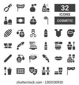 cosmetic icon set. Collection of 32 filled cosmetic icons included Mask, Cosmetics, Dropper, Masks, Eyeshadow, Nail polish, Lips, Mascara, Perfume, Nail file, Wax, Padthai, Body
