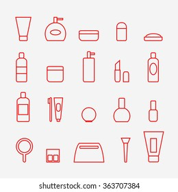 Cosmetic icons set. Cosmetic icons isolated on background. Flat line style vector illustration.