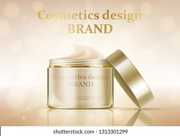 Cosmetic jar with cream. On a gold background. Vector illustration